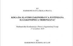 Poziv za učešće u radu XV Harmoniusove škole prava